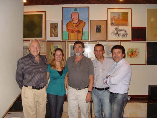 Da esquerda para a direita Nelson Ivan Petzhold, Gisele Leiva, Ivens Fontoura, Geraldo Pougy e Roger Rieger jurados da mostra Novíssimos, 2010.